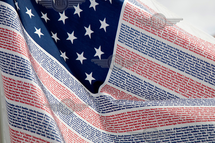 A flag in Kissimmee, Florida bears the name of every person who died in the September 11th terrorist attack in 2001, on the anniversary.