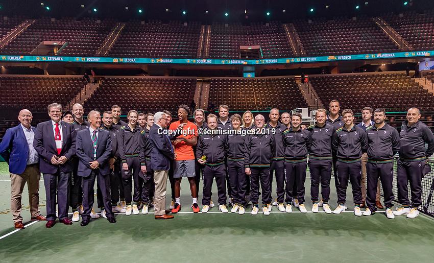 Rotterdam, The Netherlands, 17 Februari 2019, ABNAMRO World Tennis Tournament, Ahoy,  Winner Gael Monfils with the liespersons and umpires<br /> Photo: www.tennisimages.com/Henk Koster