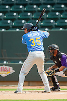 Joe Maloney (35) of the Myrtle Beach Pelicans at bat against the Winston-Salem Dash at BB&T Ballpark on July 7, 2013 in Winston-Salem, North Carolina.  The Pelicans defeated the Dash 6-5 in 8 innings in game two of a double-header.  (Brian Westerholt/Four Seam Images)