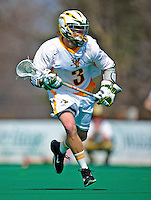 3 April 2010: University of Vermont Catamounts' Attacker Liam Thomas, a Junior from Spring Lake Heights, NJ, in action against the Binghamton University Bearcats at Moulton Winder Field in Burlington, Vermont. The Catamounts defeated the visiting Bearcats 11-8 in Vermont's opening home game of the 2010 season. Mandatory Credit: Ed Wolfstein Photo