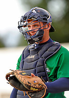 25 August 2008: Vermont Lake Monsters' catcher Derek Norris warms up prior to a game against the Hudson Valley Renegades at historic Centennial Field in Burlington, Vermont. The Lake Monsters defeated the Renegades 8-5 in the second game of their three-game series in Vermont...Mandatory Credit: Ed Wolfstein Photo
