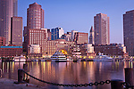 Sunrise at Rowes Wharf on Boston Harbor, Boston, MA, USA