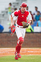 Johnson City Cardinals catcher Charlie Neil (32) jogs off the field between innings of the Appalachian League game against the Elizabethton Twins at Cardinal Park on July 27, 2014 in Johnson City, Tennessee.  The game was suspended in the top of the 5th inning with the Twins leading the Cardinals 7-6.  (Brian Westerholt/Four Seam Images)