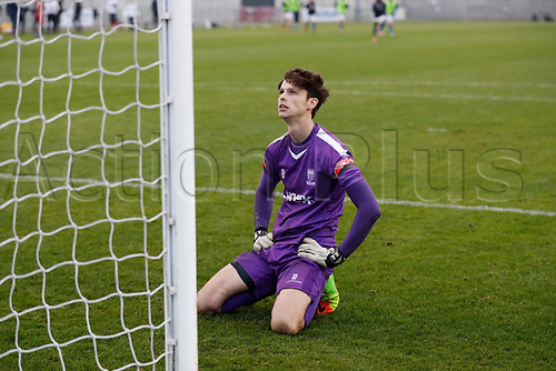 8th November 2020; SkyEx Community Stadium, London, England; Football Association Cup, Hayes and Yeading United versus Carlisle United; Goalkeeper Jack Smith of Hayes & Yeading United on his knees in <br /> disappointment after missing Gavin Reilly of Carlisle United winning penalty shoot out goal that puts Carlisle United though to the 2nd round
