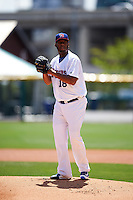 Buffalo Bisons starting pitcher Roberto Hernandez (18) during a game against the Toledo Mudhens on May 18, 2016 at Coca-Cola Field in Buffalo, New York.  Buffalo defeated Toledo 7-5.  (Mike Janes/Four Seam Images)