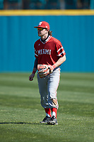 Miami Redhawks second baseman Will Vogelgesang (2) on defense against the Connecticut Huskies at Springs Brooks Stadium on March 5, 2021 in Conway, South Carolina. The Huskies defeated the Redhawks 5-0. (Brian Westerholt/Four Seam Images)