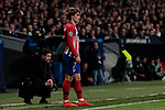 Atletico de Madrid's coach Diego Pablo Simeone (L) and Antoine Griezmann (R) during UEFA Champions League match, Round of 16, 1st leg between Atletico de Madrid and Juventus at Wanda Metropolitano Stadium in Madrid, Spain. February 20, 2019. (ALTERPHOTOS/A. Perez Meca)