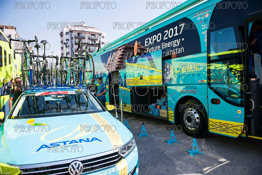 Castellon, SPAIN - SEPTEMBER 7: Astana bus during LA Vuelta 2016 on September 7, 2016 in Castellon, Spain