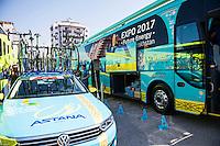 Castellon, SPAIN - SEPTEMBER 7: Astana bus during LA Vuelta 2016 on September 7, 2016 in Castellon, Spain