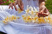A Hawaiian woman making a fragrant plumeria lei on the lawn