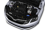 Car stock 2017 Skoda Octavia Ambition 5 Door Hatchback engine high angle detail view