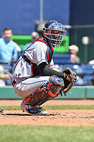 Tyler Moore (17) of the Binghamton Rumble Ponies looks toward the dugout during a game between the Hartford Yard Goats and the Binghamton Rumble Ponies at Dunkin Donuts Park on May 9, 2018 in Hartford, Connecticut.<br /> (Gregory Vasil/Four Seam Images)