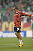 Landon Donovan stretches before the game. USA and Mexico tied, 2-2, in an international friendly at Reliant Stadium, Houston, Texas on February 6, 2008.