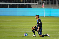 SAN JOSE, CA - NOVEMBER 4: Chris Wondolowski #8 of the San Jose Earthquakes takes a knee before a game between Los Angeles FC and San Jose Earthquakes at Earthquakes Stadium on November 4, 2020 in San Jose, California.