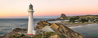 Pastel dawn over Castlepoint Lighthouse, Hawke's Bay, North Island, New Zealand, NZ