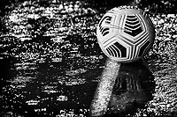 A Nike official ball is seen on the athletic track under an heavy rain prior to the Serie A football match between SS Lazio and Cagliari Calcio at Olimpico stadium in Rome (Italy), February 7th, 2021. Photo Andrea Staccioli / Insidefoto