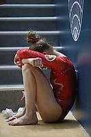 12th March 2020, Baku, Azerbaijan;  2020 Artistic World Cup Gymnastics Tournament;   Ganna Metelitsa, BLR, sits dejected during qualification