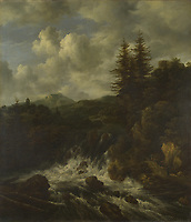Full title: A Landscape with a Waterfall and a Castle on a Hill<br /> Artist: Jacob van Ruisdael<br /> Date made: probably 1660-70<br /> Source: http://www.nationalgalleryimages.co.uk/<br /> Contact: picture.library@nationalgallery.co.uk<br /> <br /> Copyright © The National Gallery, London