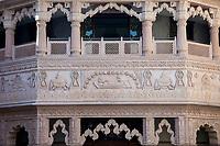 India, Dehradun.  Dharamsala, a Community Center, with Traditional Indian Decorative Motifs, including Swastikas.
