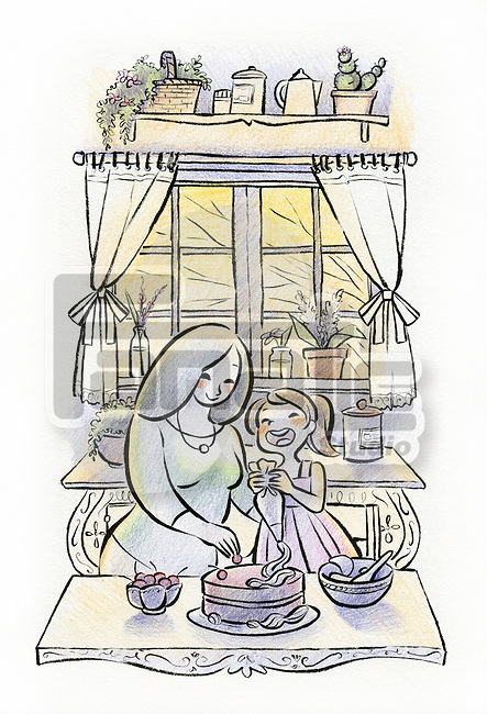 Illustration of mother and daughter preparing cake together in kitchen