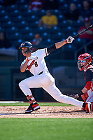 Oregon State Beavers Cesar Valero Sanchez (8) hits a double during an NCAA game against the New Mexico Lobos at Surprise Stadium on February 14, 2020 in Surprise, Arizona. (Zachary Lucy / Four Seam Images)