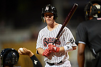 Birmingham Barons catcher Zack Collins (24) at bat during a game against the Pensacola Blue Wahoos on May 8, 2018 at Regions FIeld in Birmingham, Alabama.  Birmingham defeated Pensacola 5-2.  (Mike Janes/Four Seam Images)