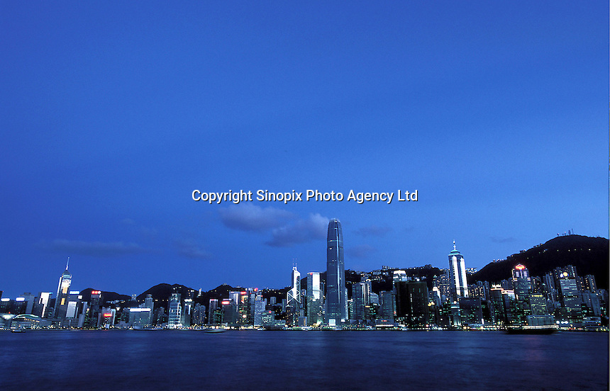Overlooking the skylines on Hong Kong Island from Kowloon side, Hong Kong..