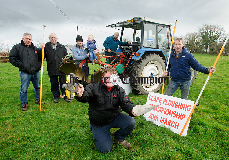 Lee Sullivan of Kilmurry, who will be taking part in a newly launched novice class, pictured with Clare Ploughing Association members; John Joe Donnellan, John Meehan, Paul Browne with his son Paul, Walter Moroney and Paddy Quinn  at the launch of the Clare ploughing championships which takes place on March 20th at Liscullane, Tulla. Photograph by John Kelly.
