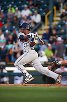 Fort Myers Miracle catcher Brian Navarreto (23) at bat during a game against the Bradenton Marauders on April 9, 2016 at McKechnie Field in Bradenton, Florida.  Fort Myers defeated Bradenton 5-1.  (Mike Janes/Four Seam Images)