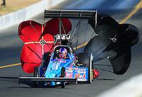 Jul. 16, 2010; Sonoma, CA, USA; NHRA top fuel dragster driver Mike Strasburg during qualifying for the Fram Autolite Nationals at Infineon Raceway. Mandatory Credit: Mark J. Rebilas-