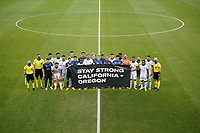 SAN JOSE, CA - SEPTEMBER 16: The San Jose Earthquakes and the  Portland Timbers hold a banner before a game between Portland Timbers and San Jose Earthquakes at Earthquakes Stadium on September 16, 2020 in San Jose, California.