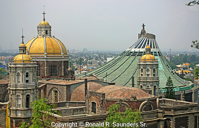 View of Basilica de Nuestra Senora de Guadalupe and new Basilica overlooking Mexico City from Hill Chapel where the Indian (Juan Diego) claimed to have seen the Virgin Mary (now Mexico's patron saint) in 1531 - Mexico