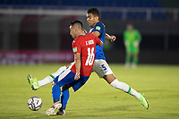 8th June 2021; Defensores del Chaco Stadium, Asuncion, Paraguay; World Cup football 2022 qualifiers; Paraguay versus Brazil;   Ángel Cardozo Lucena of Paraguay as Casemiro of Brazil tries to bock the cross