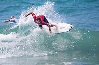 Huntington Beach, CA - Tuesday July 31, 2018: Jeremy Flores in action during a World Surf League (WSL) Qualifying Series (QS) Men's round of 96 heat at the 2018 Vans U.S. Open of Surfing on South side of the Huntington Beach pier.