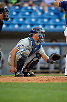 West Michigan Whitecaps catcher Drew Longley (14) during the second game of a doubleheader against the Lake County Captains on August 6, 2017 at Classic Park in Eastlake, Ohio.  West Michigan defeated Lake County 9-0.  (Mike Janes/Four Seam Images)