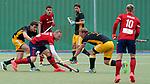 v.li.: Niklas Reuter (HTHC, 25), Alexander Schöllkopf (MHC, 27), Michael Körper (HTHC, 9), Zweikampf, Spielszene, Duell, duel, tackle, tackling, Dynamik, Action, Aktion, 01.05.2021, Mannheim  (Deutschland), Hockey, Deutsche Meisterschaft, Viertelfinale, Herren, Mannheimer HC - Harvestehuder THC <br /> <br /> Foto © PIX-Sportfotos *** Foto ist honorarpflichtig! *** Auf Anfrage in hoeherer Qualitaet/Aufloesung. Belegexemplar erbeten. Veroeffentlichung ausschliesslich fuer journalistisch-publizistische Zwecke. For editorial use only.