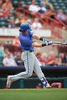 Hartford Yard Goats right fielder Drew Weeks (11) follows through on a swing during a game against the Erie SeaWolves on August 6, 2017 at UPMC Park in Erie, Pennsylvania.  Erie defeated Hartford 9-5.  (Mike Janes/Four Seam Images)