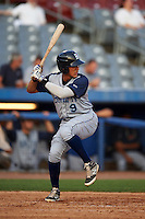 Brooklyn Cyclones outfielder Oswald Caraballo (9) at bat during the first game of a doubleheader against the Connecticut Tigers on September 2, 2015 at Senator Thomas J. Dodd Memorial Stadium in Norwich, Connecticut.  Brooklyn defeated Connecticut 7-1.  (Mike Janes/Four Seam Images)
