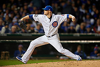 Chicago Cubs pitcher Jon Lester (34) delivers a pitch in the sixth inning during Game 5 of the Major League Baseball World Series against the Cleveland Indians on October 30, 2016 at Wrigley Field in Chicago, Illinois.  (Mike Janes/Four Seam Images)