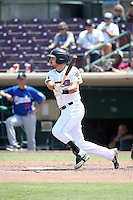 Zack Houchins (5) of the Inland Empire 66ers bats against the Rancho Cucamonga Quakes at San Manuel Stadium on April 27, 2016 in San Bernardino, California. Rancho Cucamonga defeated Inland Empire, 2-1. (Larry Goren/Four Seam Images)