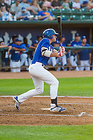 Matt Jones (40) of the Ogden Raptors at bat against the Helena Brewers in Pioneer League action at Lindquist Field on August 17, 2015 in Ogden, Utah. Ogden defeated Helena 7-2.  (Stephen Smith/Four Seam Images)