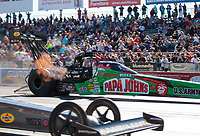Sep 22, 2018; Madison, IL, USA; NHRA top fuel driver Leah Pritchett during qualifying for the Midwest Nationals at Gateway Motorsports Park. Mandatory Credit: Mark J. Rebilas-USA TODAY Sports
