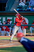Morgan McCullough (3) of the Orem Owlz bats against the Ogden Raptors at Lindquist Field on June 22, 2019 in Ogden, Utah. The Owlz defeated the Raptors 7-4. (Stephen Smith/Four Seam Images)