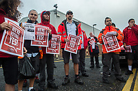 Members of the Communication Workers Union hold a morning gate meeting outside their North London depot ahead of a national ballot for strike action over cuts to their pensions. 11-9-17