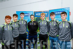 About to receive their Munster minor champions 2019 medals, at the Kerry GAA centre, Currans village, last Friday night were L-R Dylan Callaghan, Firies, Ryan O'Grady, Legion, Emmett O'Shea, Fossa, Aiden O'Mahony, Guest speaker, Alan Dineen, Rathmore, Austin Murphy, St Marys and  Eoghan O'Sullivan, Legion.