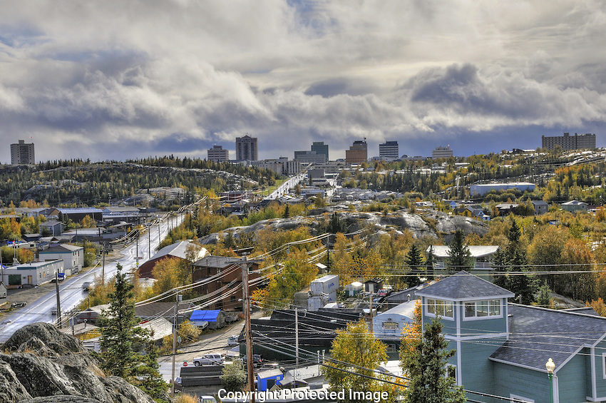September view of uptown Yellowknife from Pilot's Monument