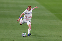 ST PAUL, MN - SEPTEMBER 06: Justen Glad #15 of Real Salt Lake kicks the ball during a game between Real Salt Lake and Minnesota United FC at Allianz Field on September 06, 2020 in St Paul, Minnesota.