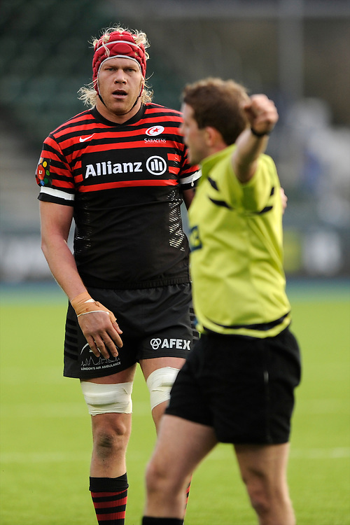 20130127 Copyright onEdition 2013©.Free for editorial use image, please credit: onEdition..Mouritz Botha of Saracens during the LV= Cup match between Saracens and Cardiff Blues at Allianz Park on Sunday 27th January 2013 (Photo by Rob Munro)..For press contacts contact: Sam Feasey at brandRapport on M: +44 (0)7717 757114 E: SFeasey@brand-rapport.com..If you require a higher resolution image or you have any other onEdition photographic enquiries, please contact onEdition on 0845 900 2 900 or email info@onEdition.com.This image is copyright onEdition 2013©..This image has been supplied by onEdition and must be credited onEdition. The author is asserting his full Moral rights in relation to the publication of this image. Rights for onward transmission of any image or file is not granted or implied. Changing or deleting Copyright information is illegal as specified in the Copyright, Design and Patents Act 1988. If you are in any way unsure of your right to publish this image please contact onEdition on 0845 900 2 900 or email info@onEdition.com