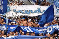 BOGOTA -COLOMBIA- 15 -09-2013. Hinchas de Los Millonarios durante el partido contra el Independiente  Santa Fe , partido correspondiente a la novena fecha de La Liga Postobon segundo semestre jugado en el estadio Nemesio Camacho El Campin /  Fans of the Millionaires during the game against Independiente Santa Fe, game in the ninth round of La Liga Postobon second half played in the Estadio Nemesio Camacho El Campin  .Photo: VizzorImage / Felipe Caicedo / Staff
