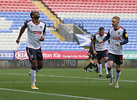 Bolton Wanderers' Nathan Delfouneso scores his side's equalising goal to make the score 1-1<br /> <br /> Photographer Stephen White/CameraSport<br /> <br /> The EFL Sky Bet League Two - Bolton Wanderers v Oldham Athletic - Saturday 17th October 2020 - University of Bolton Stadium - Bolton<br /> <br /> World Copyright © 2020 CameraSport. All rights reserved. 43 Linden Ave. Countesthorpe. Leicester. England. LE8 5PG - Tel: +44 (0) 116 277 4147 - admin@camerasport.com - www.camerasport.com